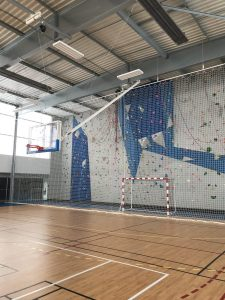 Basket, mur d'escalade, filet protection